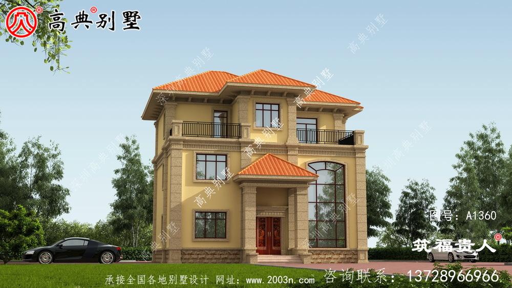 三层别墅图,欧式外观米黄色外墙喷涂效果好看极了。