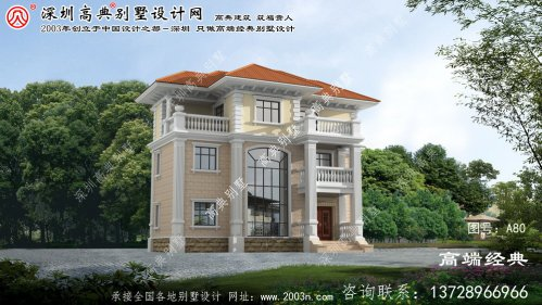 九里区新型农村三层欧式风格别墅图纸