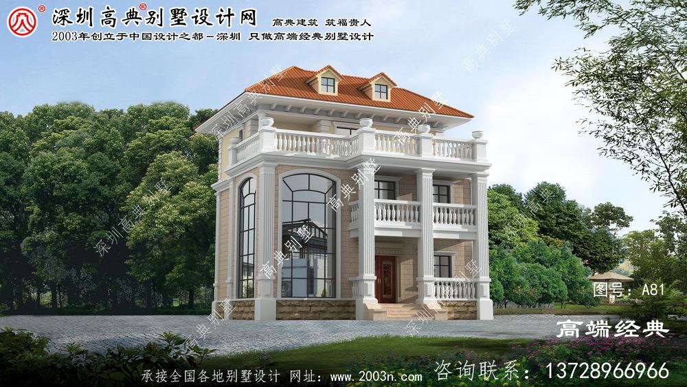 鼓楼区温馨的欧式风格三层别墅外观效果图
