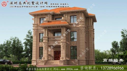 滦县农村三层别墅设计效果图