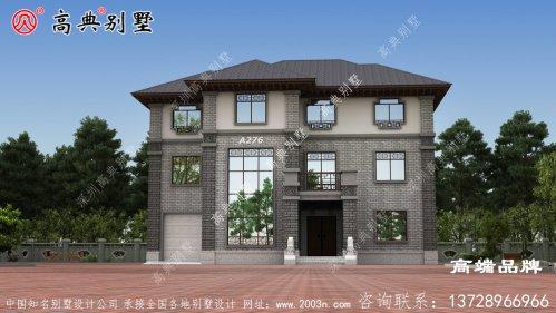 农村复式三层房屋外观装饰典雅精美