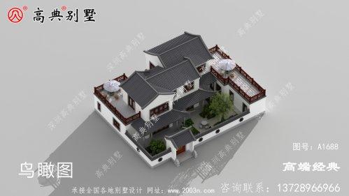 上虞市农村两层自建住宅四合院户型图,白墙灰