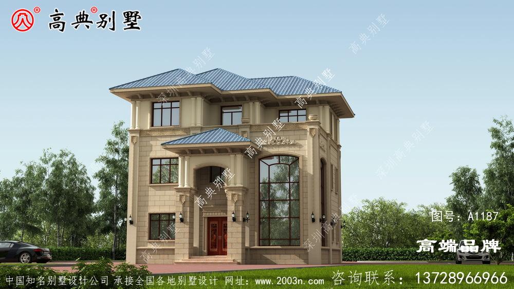 简欧三层户型完全可以满足家里人多的需求。