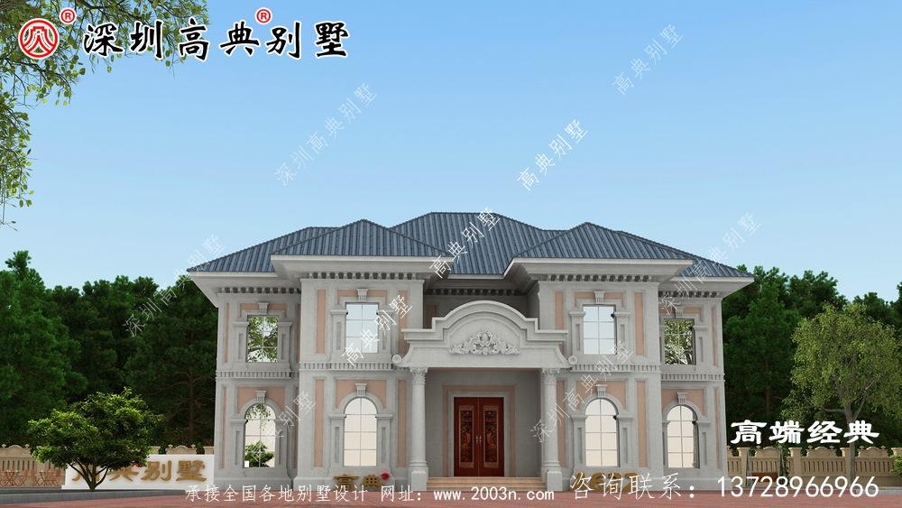 欧式两层别墅外观图屋顶采用蓝釉瓷砖,外观非常清新典雅