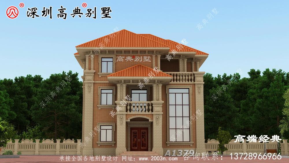 欧式三层小洋楼外观图,外观美观,符合农村住宅设计。
