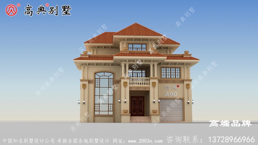 富丽堂皇又极具现代时尚感的欧式三层别墅外观图