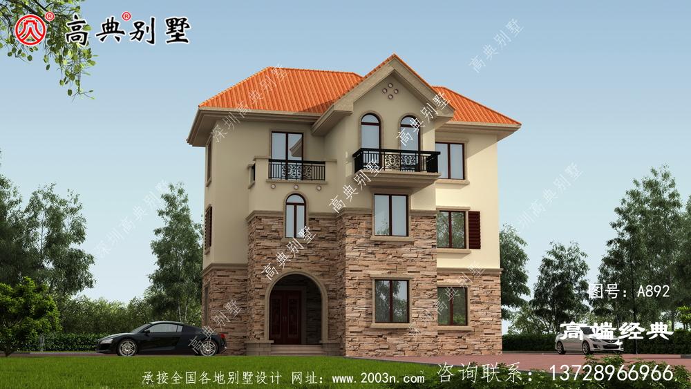 欧式别墅户型,建得人很多,自建房建这栋不后悔。