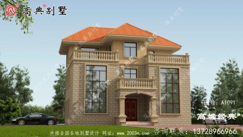 这座欧式三层别墅,外观色彩鲜艳